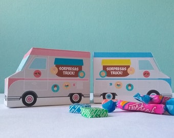 Printable food trucks, favor boxes. Editable texts, two different colours. Truck printables. Boxes of surprises
