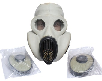 """White Soviet military gas mask """"Hamster"""" Protection mask PBF"""