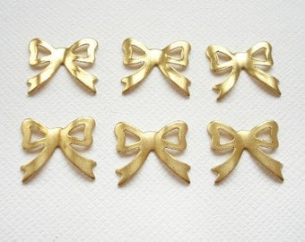 6 Raw Brass Bow Charms