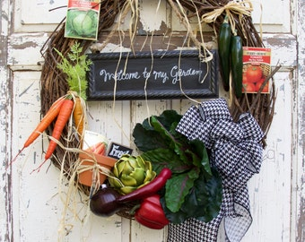 Fall Wreath, Fall Decor, Thanksgiving, Gardner's Wreath, Cottage Wreath, Cottage Chic, Wreath, Vegetable Wreath, Door Decor, Home and Garden