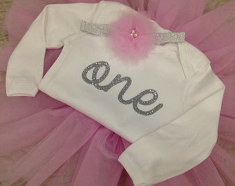 First Birthday Outfit Girl-Tutu-Smash Cake Outfit-Silver One-Glitter Onesie-Photo Prop-Baby Gift-Bodysuit-Number-Pink-Gold-Headband-Flower
