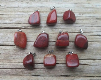 10 Red Jasper Pendants, Tumbled Gemstone Pendants