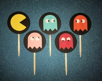 25 Pac-Man or Ms. Pac-Man Cupcake Toppers