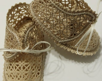 Vintage Lace Baby Booties