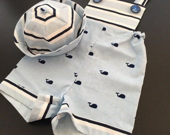 Boy's Whale Romper with Hat