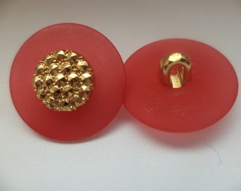 11 buttons red gold 18mm (5037) button