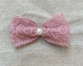 Lovely Hair clip with old pink lace amd pearls