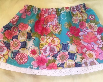 Blue floral skirt- size 6 to 12 month