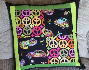 Peace, Love and VW Pillow