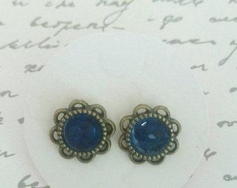 ON SALE Bronze & Blue Enamel Stud Earrings - Surgical Steel Posts