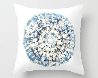 Blue Burst Mid Century Abstract Pillow