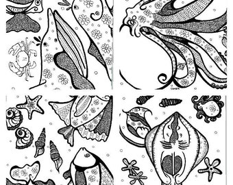Ocean World:Adult colouring book