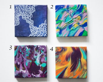 """Mini Abstract Paintings 3"""" by 3"""" Acrylic on Gallery Wrapped Canvas by Breanna Deis"""