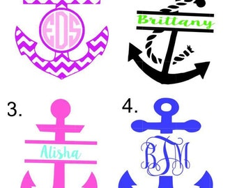 Anchor Monogram Decal / Anchor Decal / Anchor Sticker / Anchor Name Decal / Chevron Anchor Decal / Chevron Anchor Monogram Decal