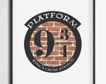 Harry Potter 9 3/4/ Printable/Platform 9 3/4 Poster/Hogwarts Print/Hogwarts Express printable/Kings Cross Station print/Wall Art Digital
