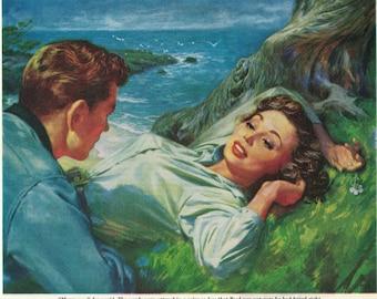 Colorful Romantic 1950s Magazine Illustration