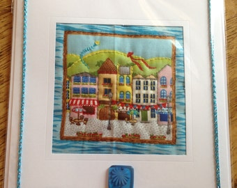 Hand Quilted Card Seaside Village Houses Summer View