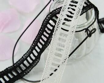 "15 yard 2.6cm 0.98"" wide black/ivory  embroidery lace trim trims ribbon L22K197 free ship"