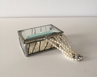 Delicate Handcrafted Glass Jewelry Box with Mirrored Bottom