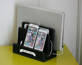 Lovely Customized Family Black Vegan Leather Multi Charging Station With Cord  Organizer   Charges Phone, Tablet
