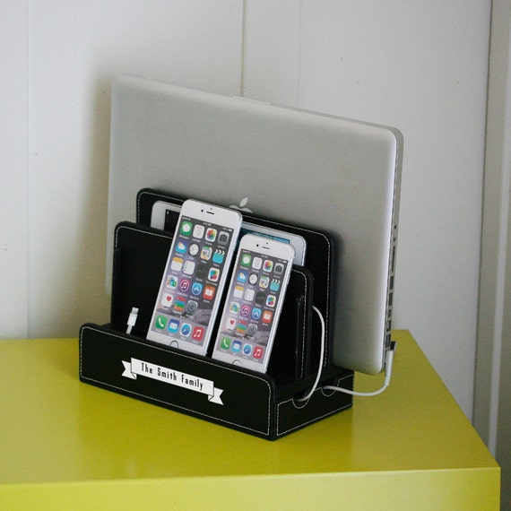 Customized Family Black Vegan Leather Multi Charging Station