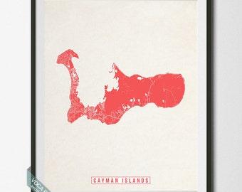 Cayman Islands Print, Cayman Islands Map, Cayman Islands Poster, British, Street Map, Honeymoon, Newly Wed, Dorm Decor