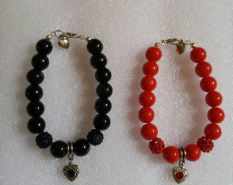 Antique Silver Heart Charm Beaded Bracelet in your choice of Black or Red