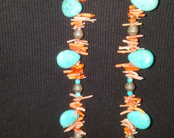 Turquoise Teardrops with Red Coral chips