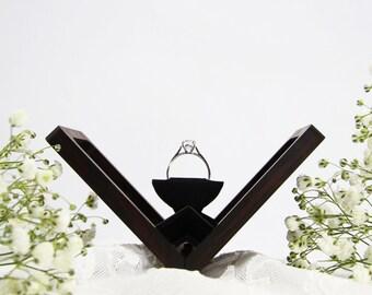 Thin engagement ring box, wedding ring box, anniversary gift, wooden ring box, hand made proposal box, Wenge (Rectangle), Woodsbury