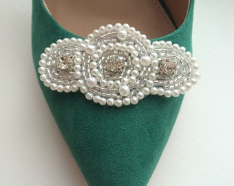 Shoe clips -- White pearls, crystal beading and cubic zirconia vintage style shoe clip -- to adorn shoes