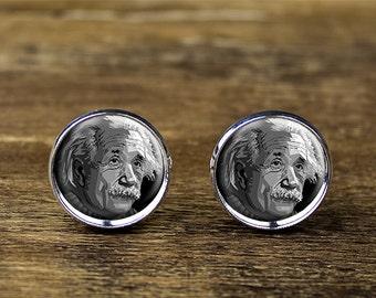 Einstein cufflinks, Einstein jewelry, Einstein accessories, scientist cufflinks