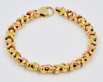 14K Gold Bracelet,Bracelet,Gold Bracelet,Womans Bracelet,XO Pattern,7 1/2'' long