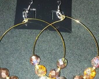 Copper Beaded Hoop Earrings