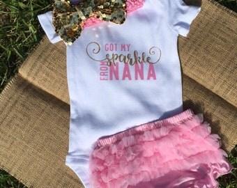 "Baby girl onesie set ""I got my sparkle from Nana"""