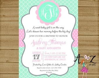 Baby Shower Invitation, Monogram Baby Shower, Monogram Shower, Monogram Wedding Shower, Initial Baby Shower, Baby Girl Shower Printable