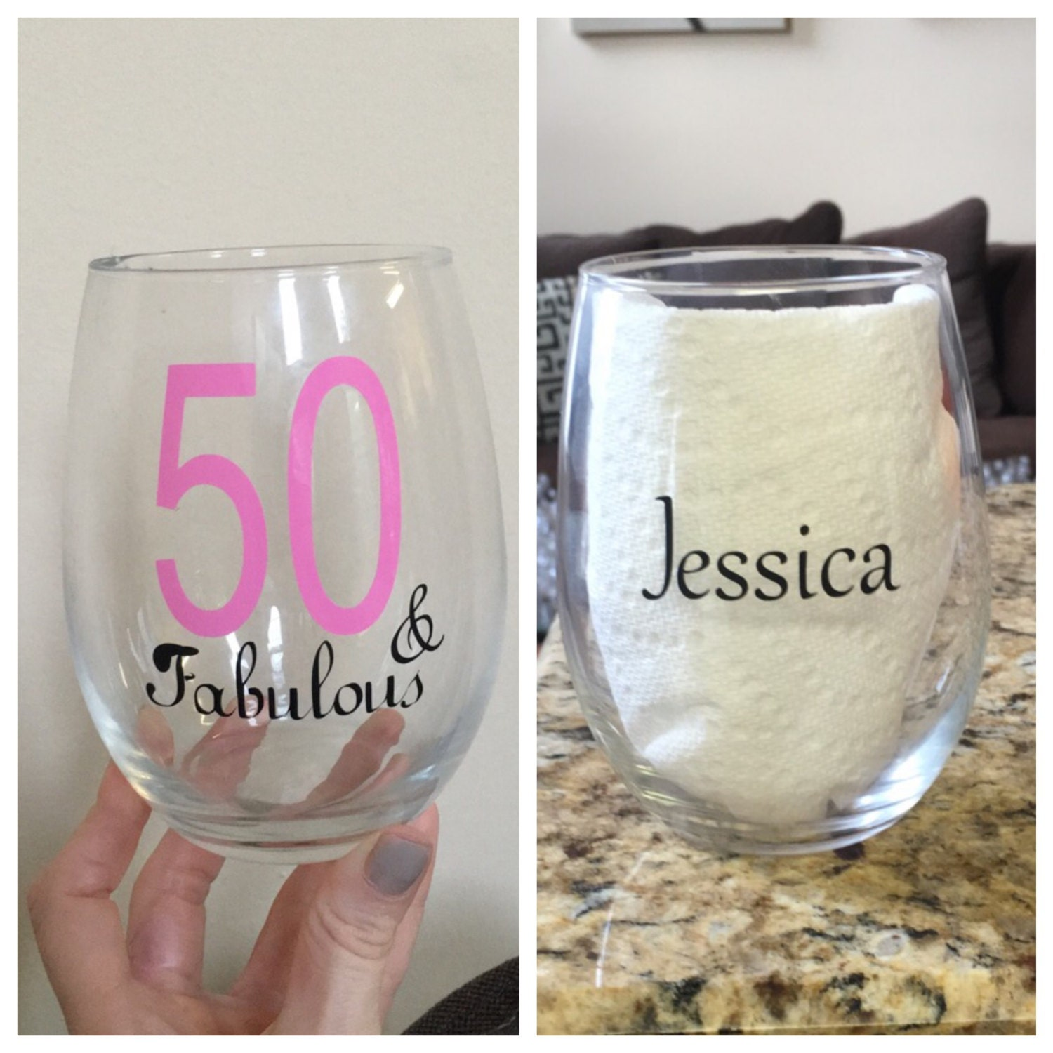 50 And Fabulous Wine Glass Happy 50th Birthday By