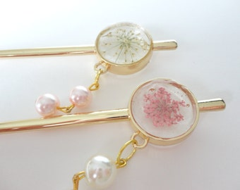 5colors,Choose your color,Hair stick,Real flower,Queen anne's Lace Flower,hair accessory,Japanese hair accessory,elegant jewelry