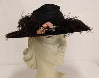 Vintage 1930's Wide Brim Hat Black Taffeta Ostrich Feathers Velvet Flowers Size Small