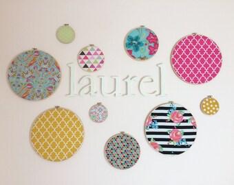 Embroidery Hoop Wall Art, Nursery Decor, Bright Colors Nursery, Baby Girl, Fabric Hoop Wall Hanging, Set of 10 Fabric Hoop Art