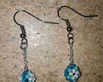 Turquoise-Blue-White Beaded Ball Earrings