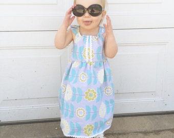 Baby Girls Dress | Flutter Sleeve Dress | Flower Child Dress | Butterfly Back Dress | Summer Dress |