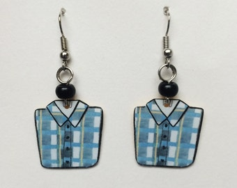 Upcycled Card Earrings - Flannels + Black Beads