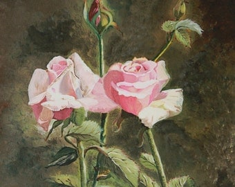 Perfection Pink Rose Oil Painting -Prints