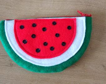 Handmade felt sequin watermelon coin purse