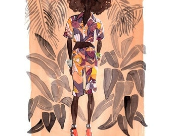 Fashion Illustration, Limited Edition Art Print, Watercolor Fashion, Fashion Art, Hawaii Art, Wall Art