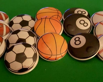 15 - Sports Flat back and pin back buttons, basketball, football, baseball, soccer, 8 ball, balls, embellishments, pinback buttons