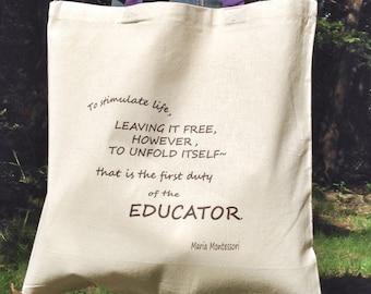 Montessori Quote Tote