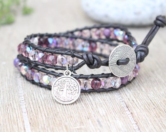 Wrap Bracelet Double Bracelet Czech Glass Purple Beads