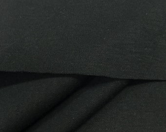 Cotton Blend Interlock Knit Fabric (Wholesale Price Available By The Bolt) USA Made Premium Quality - 2810 Black - 1 Yard