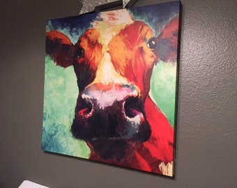 Abstract multicolored cow painting